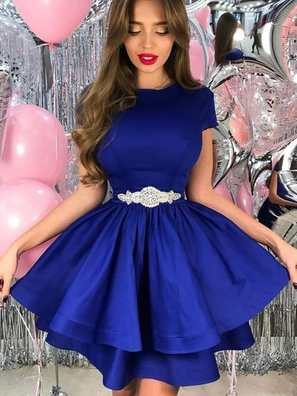 A-Line/Princess Satin Sash/Ribbon/Belt Sheer Neck Short/Mini Dresses