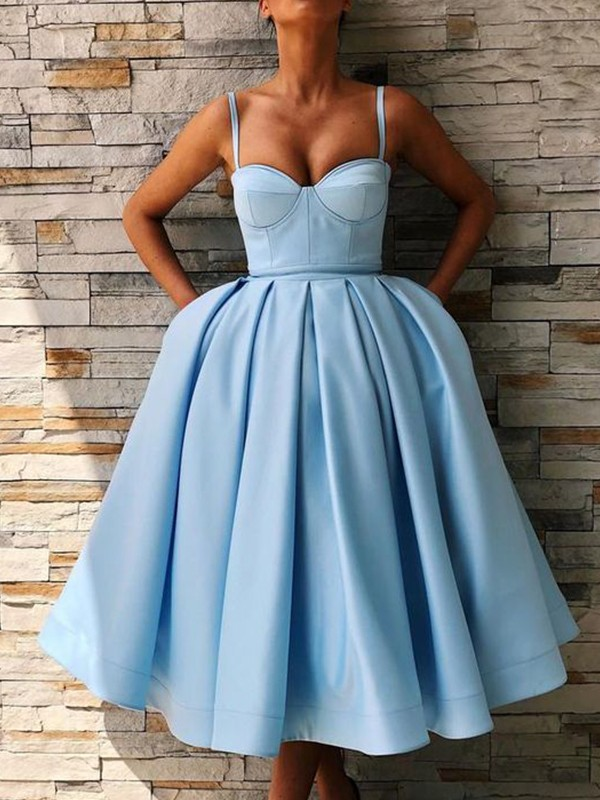 Ball Gown Satin Ruffles Spaghetti Straps Tea-Length Dresses