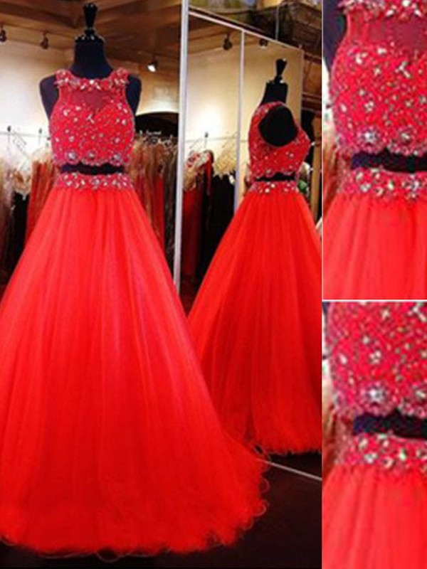 A-Line/Princess Scoop Sleeveless Floor-Length Beading Tulle Two Piece Dresses