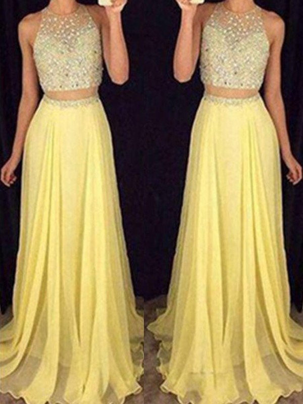 A-Line/Princess Scoop Sleeveless Sweep/Brush Train Beading Chiffon Two Piece Dresses