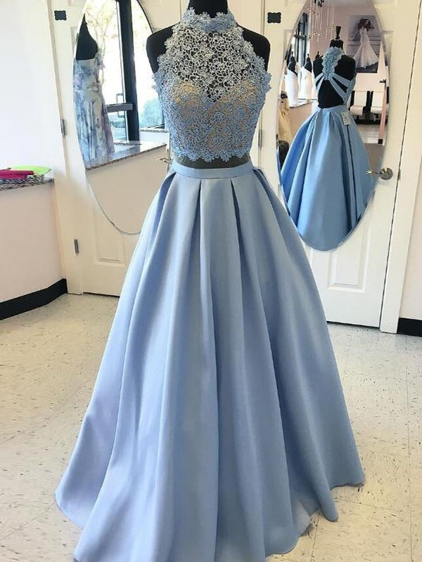 Ball Gown High Neck Sleeveless Floor-Length Applique Satin Two Piece Dresses