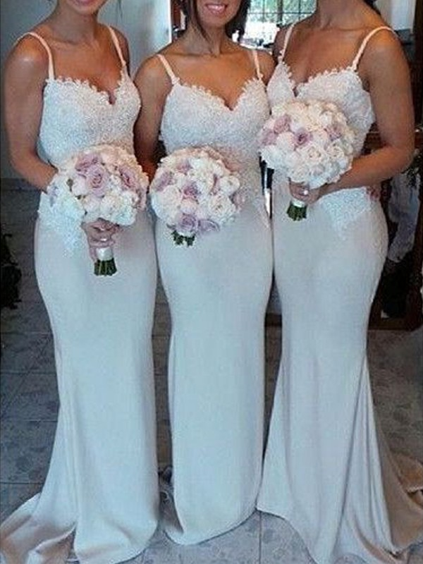 Sheath/Column Sweetheart Sleeveless Satin Lace Sweep/Brush Train Bridesmaid Dresses