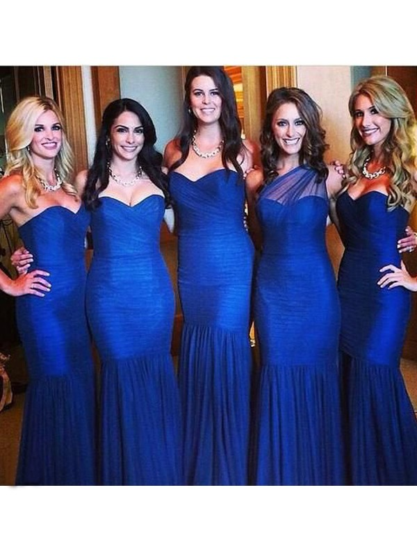 Trumpet/Mermaid Sweetheart Sleeveless Floor-Length Ruched Tulle Bridesmaid Dresses