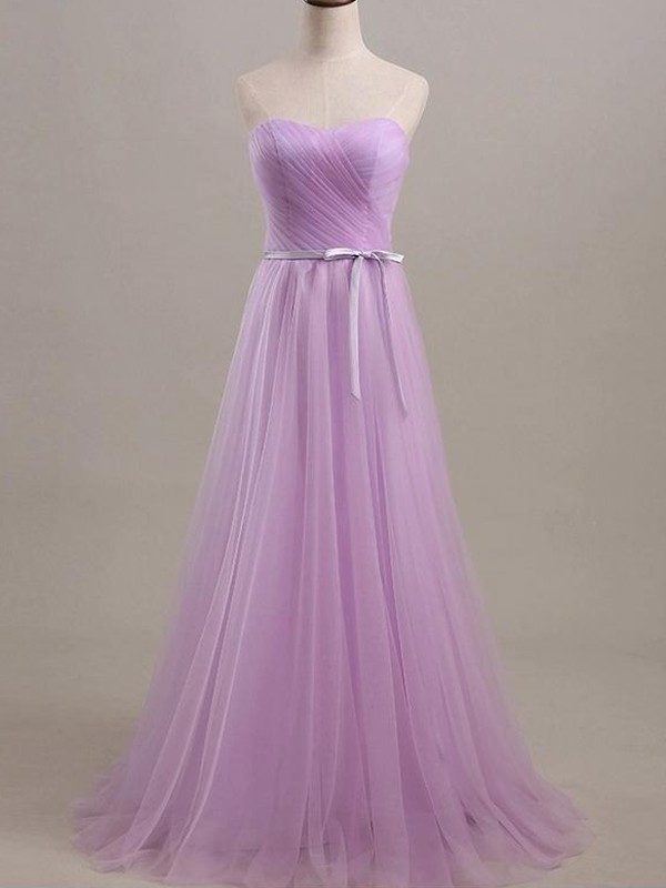 A-Line/Princess Sleeveless Sweetheart Floor-Length Sash/Ribbon/Belt Tulle Bridesmaid Dresses