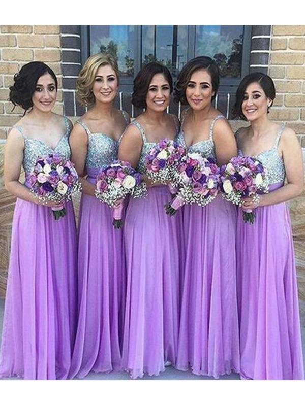 A-Line/Princess Sleeveless Sweetheart Floor-Length Sequin Chiffon Bridesmaid Dresses