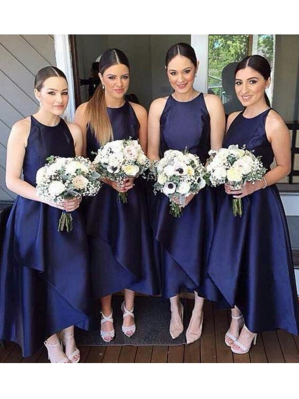 A-Line/Princess Scoop Sleeveless Asymmetrical Layers Satin Bridesmaid Dresses