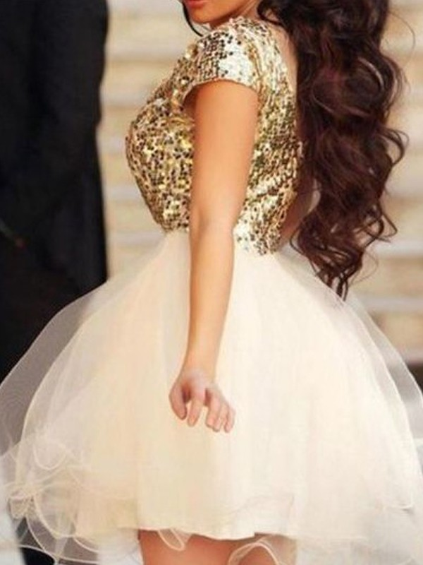 A-Line/Princess Sleeveless Scoop Sequin Tulle Short/Mini Dresses