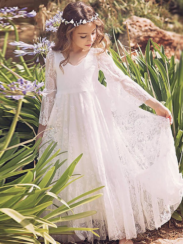 A-Line/Princess Long Sleeves V-neck Lace Floor-Length Flower Girl Dresses