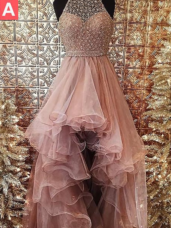 Ball Gown Halter Sleeveless Asymmetrical Tulle Dress