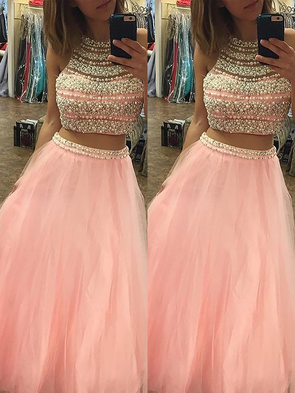 A-Line Halter Sleeveless Tulle Floor-Length Beading Two Piece Dresses