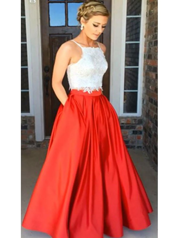 A-Line Spaghetti Straps Sleeveless Satin Floor-Length Lace Two Piece Dresses