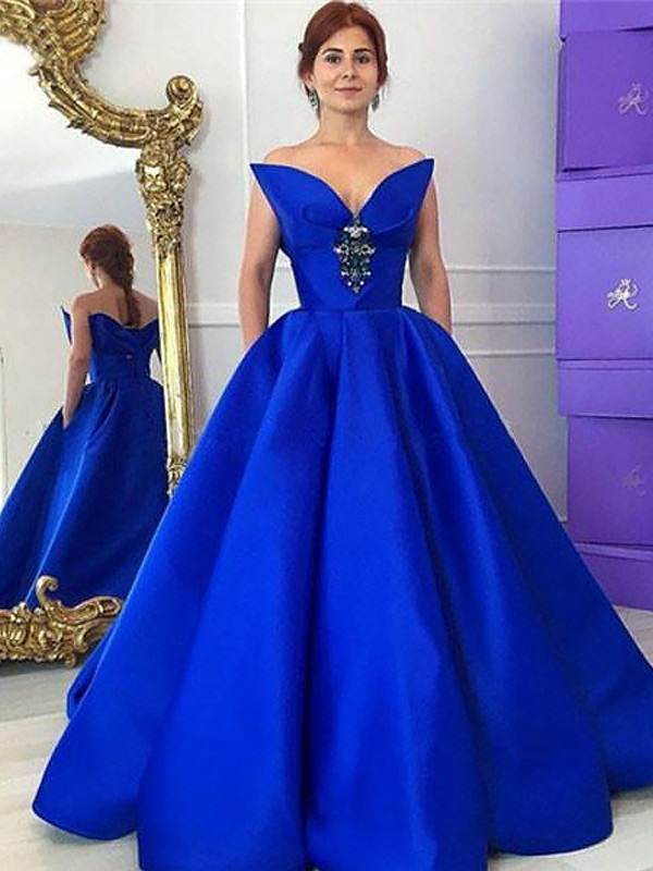Ball Gown Sleeveless V-neck Ruffles Floor-Length Satin Dresses