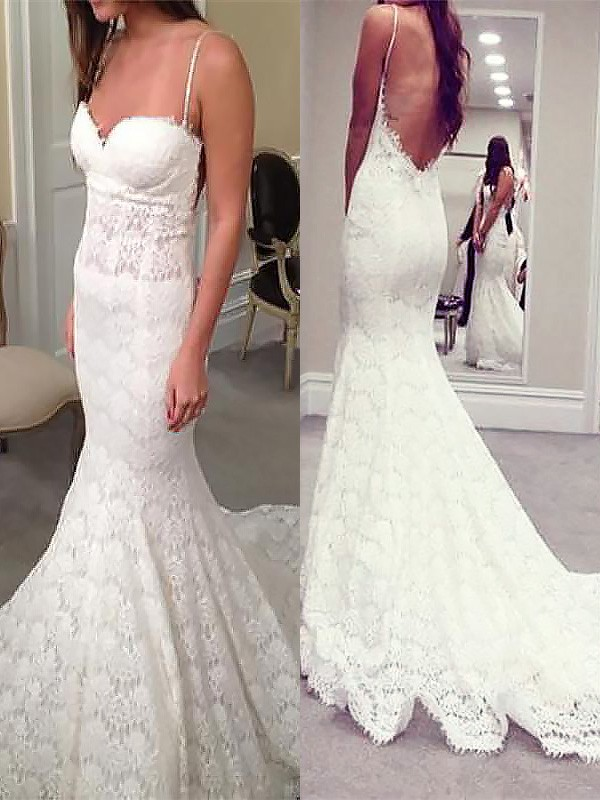 Mermaid Spaghetti Straps Court Train Lace Sleeveless Wedding Dresses