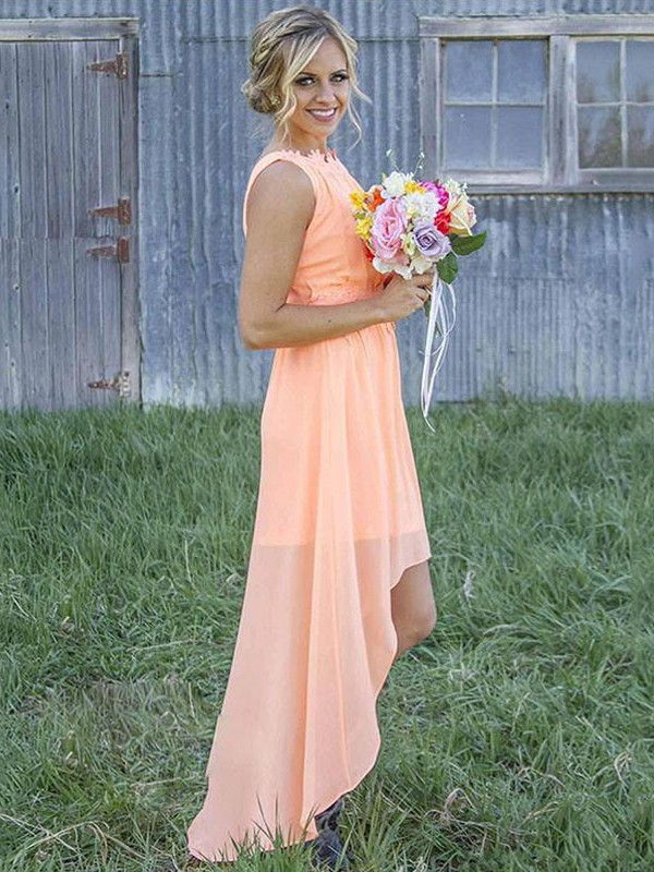 A-Line Sleeveless Scoop Asymmetrical Chiffon Bridesmaid Dresses