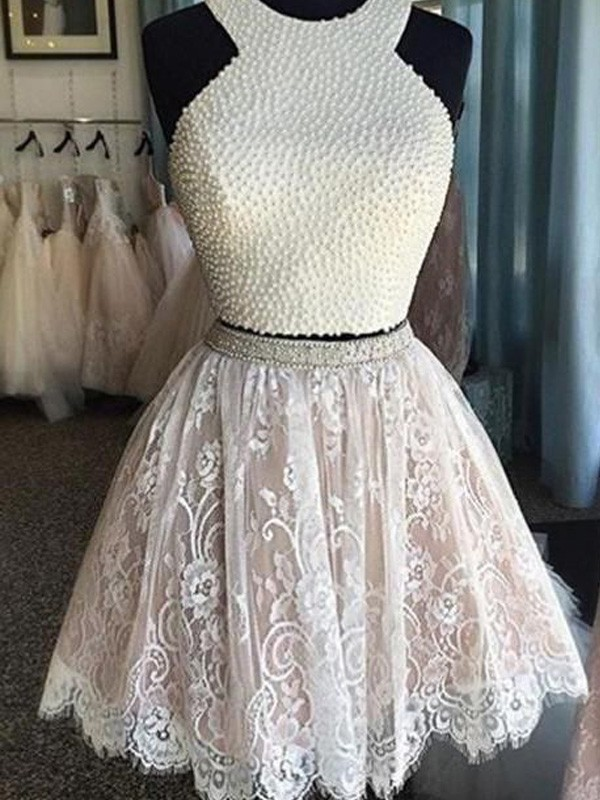 A-Line/Princess Sleeveless Halter Pearls Short/Mini Lace Two Piece Dresses
