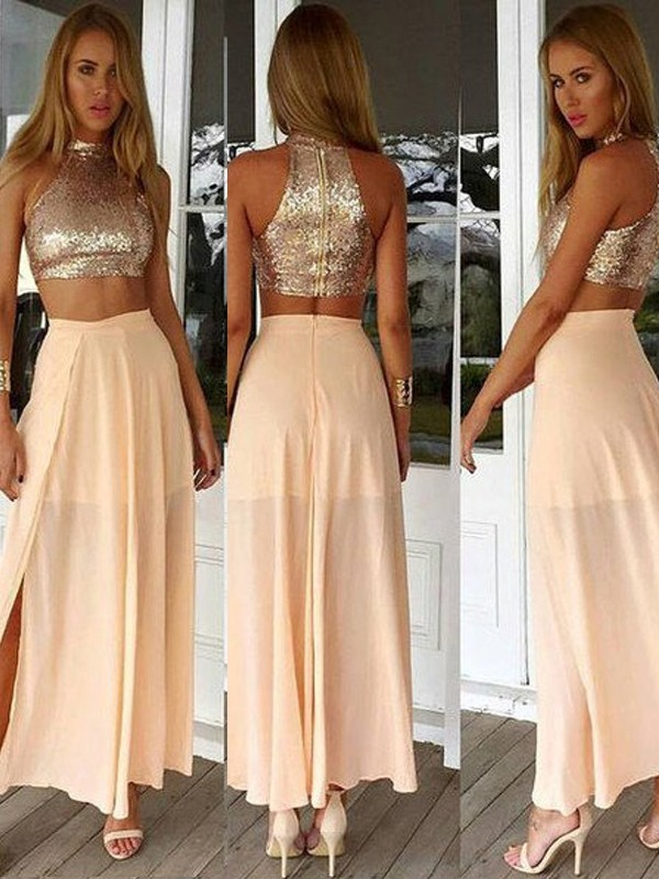 A-Line/Princess High Neck Sleeveless Sequin Chiffon Ankle-Length Dresses