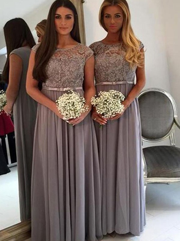 A-Line/Princess Scoop Floor-Length Applique Chiffon Bridesmaid Dresses