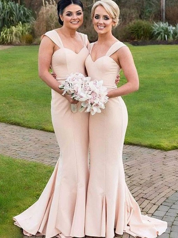 Trumpet/Mermaid Sweetheart Sleeveless Satin Floor-Length Bridesmaid Dresses