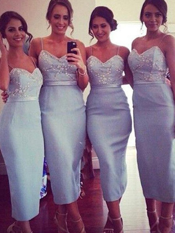 Sheath/Column Spaghetti Straps Sleeveless Satin Knee-Length Bridesmaid Dresses