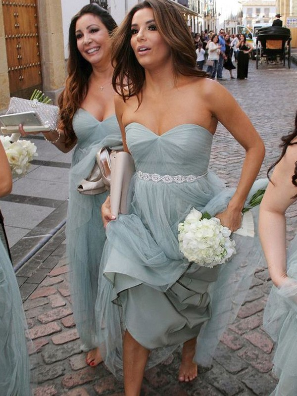 A-Line/Princess Sweetheart Sleeveless Floor-Length Beading Tulle Bridesmaid Dresses