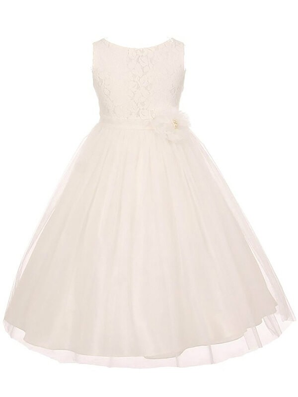 A-Line Scoop Sleeveless Tulle Ankle-length Flower Girl Dress