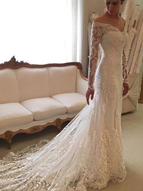 Sheath Long Sleeves Lace Off-the-Shoulder Court Train Wedding Dresses