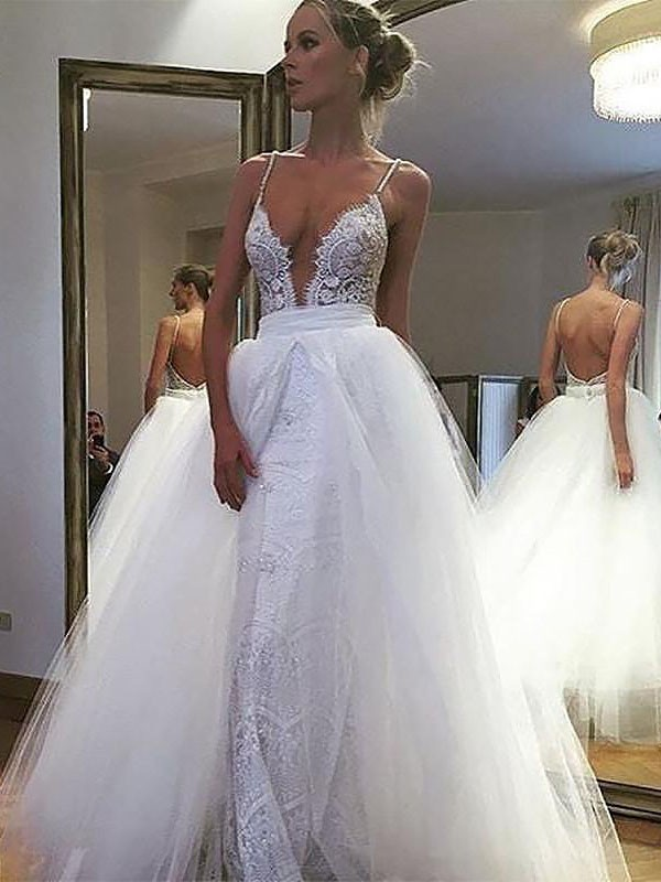 A-Line Tulle Lace Spaghetti Straps Sleeveless Floor-Length Wedding Dresses