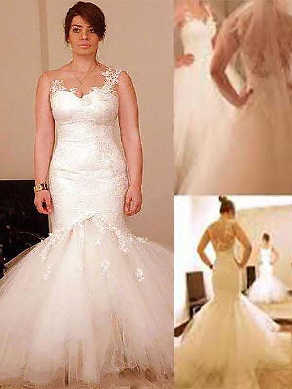 Mermaid Floor-Length Sleeveless Organza Straps Wedding Dresses