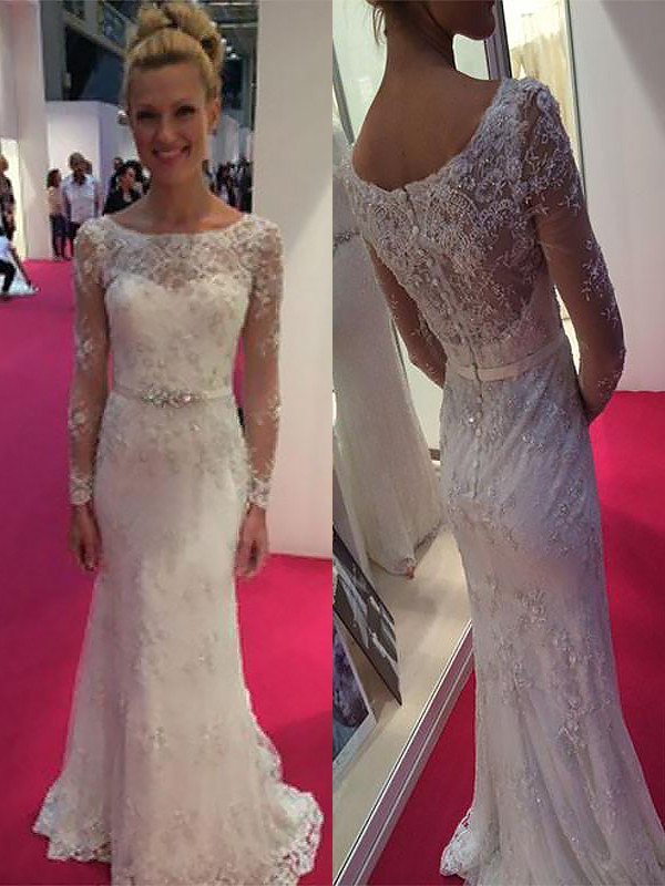 Sheath Scoop Long Sleeves Lace Chiffon Sweep/Brush Train Wedding Dresses