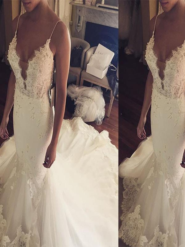 Mermaid Spaghetti Straps Court Train Lace Tulle Sleeveless Wedding Dresses