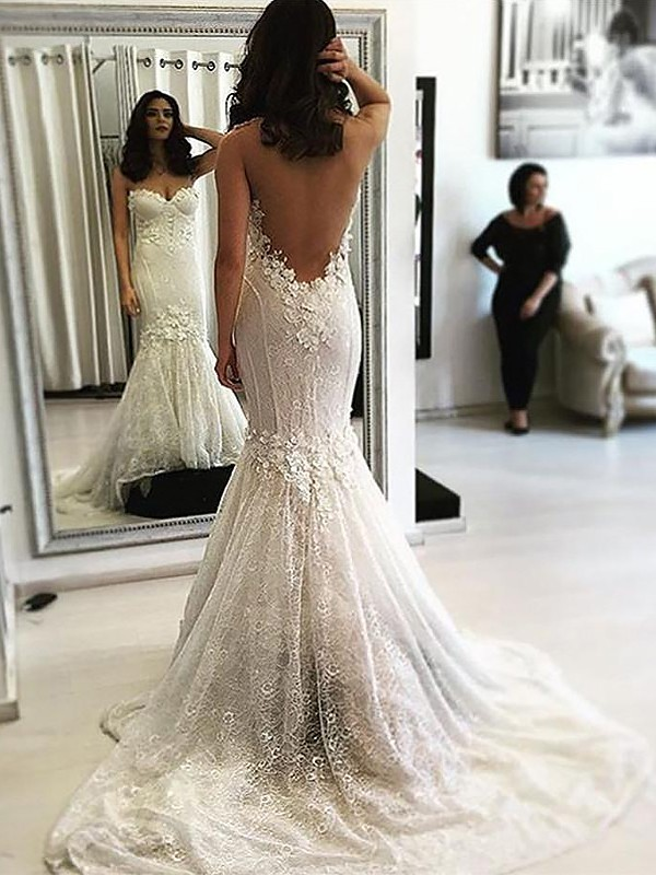 Mermaid Sweetheart Sweep/Brush Train Lace Sleeveless Wedding Dresses