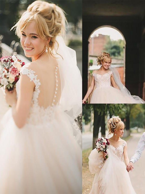 A-Line Scoop Court Train Tulle Sleeveless Wedding Dresses