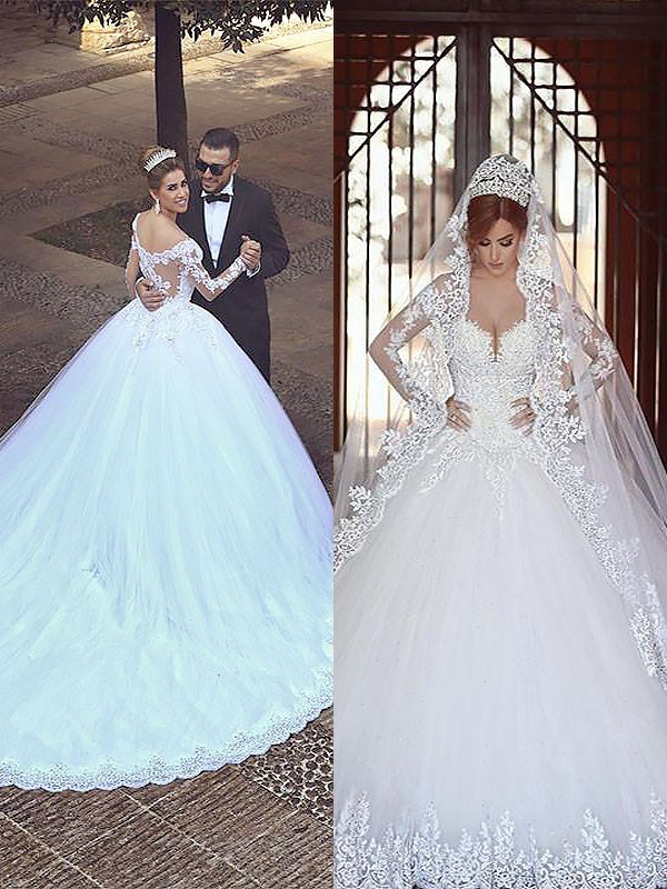 Ball Gown Tulle Long Sleeves Off-the-Shoulder Court Train Wedding Dresses