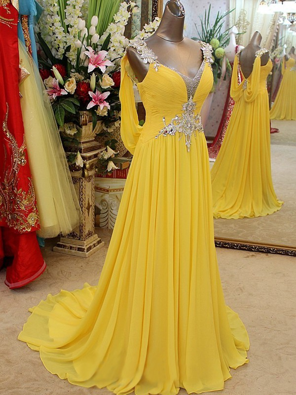 A-line/Princess Straps Sleeveless Beading Sweep/Brush Train Chiffon Dresses