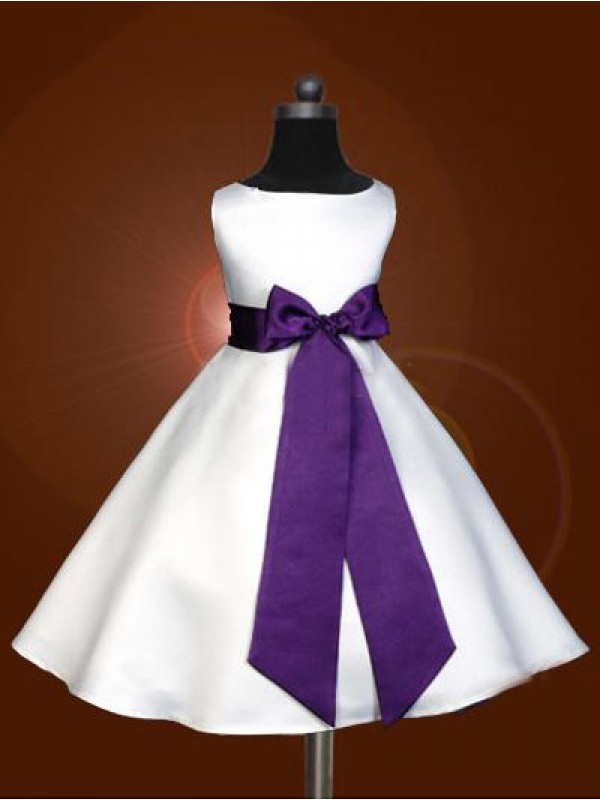 A-line Scoop Sleeveless Bowknot Ankle-length Satin Flower Girl Dress