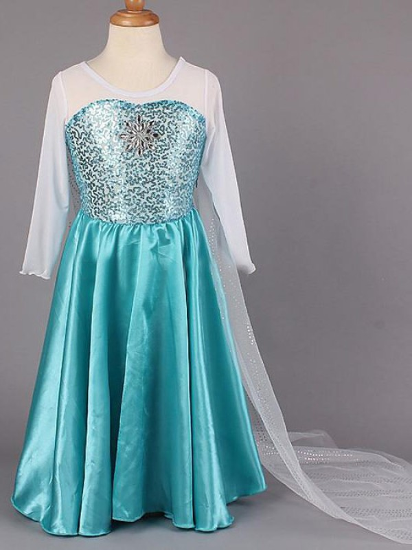 A-line Scoop Long Sleeves Beading Floor-length Satin Flower Girl Dress