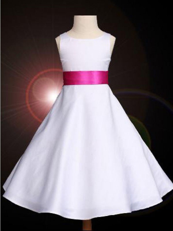 A-line Scoop Bowknot Sleeveless Ankle-length Satin Flower Girl Dress