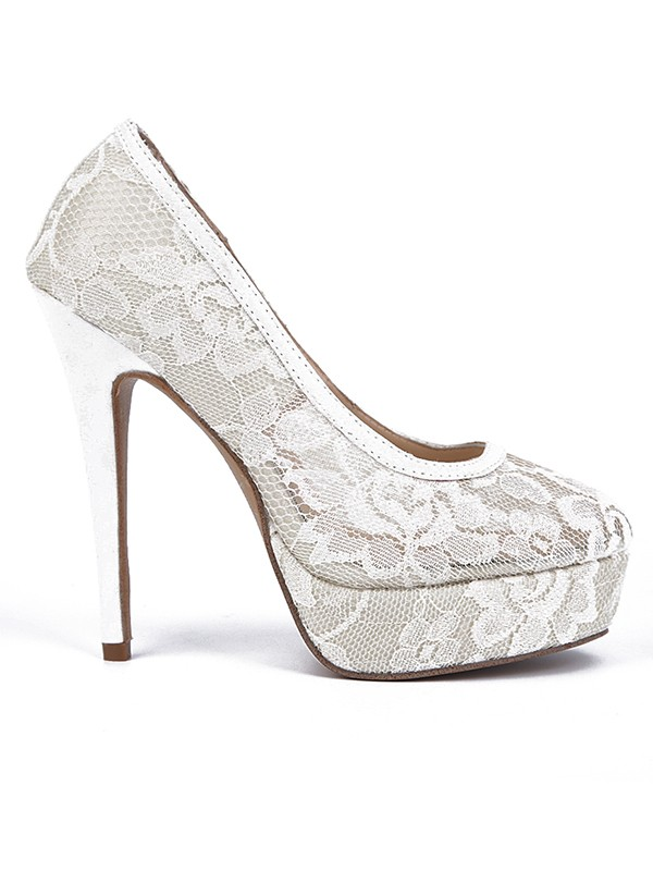 Women's Lace Stiletto Heel Closed Toe Platform High Heels