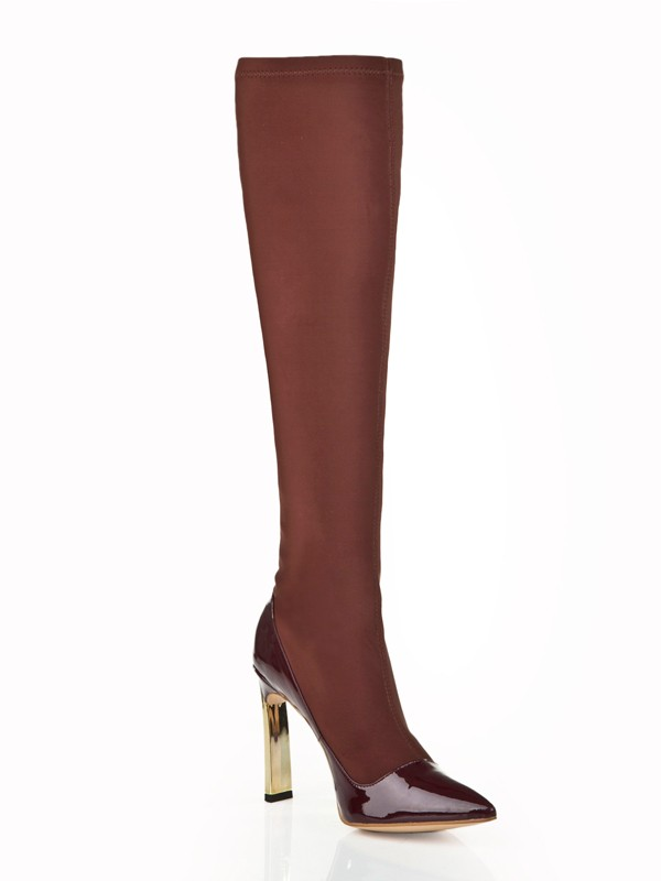 Women's Stiletto Heel Elastic Leather With Rhinestone Knee High Chocolate Boots