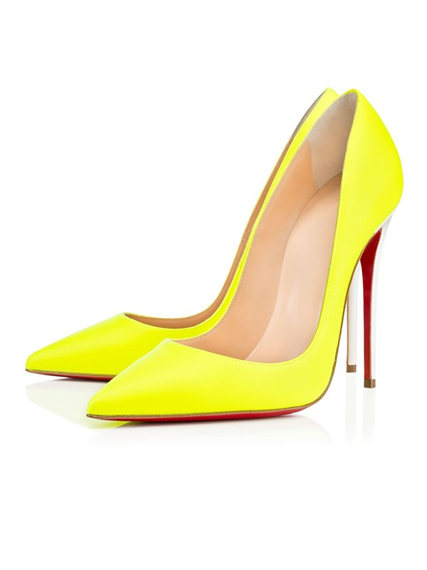Women's Yellow Patent Leather Closed Toe Stiletto Heel High Heels