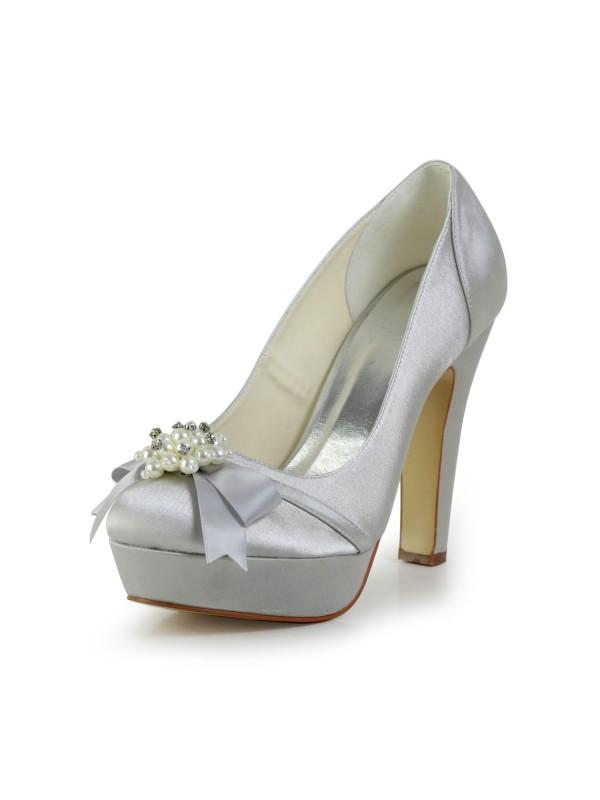 Women's Satin Chunky Heel Closed Toe Platform Silver Wedding Shoes With Bowknot