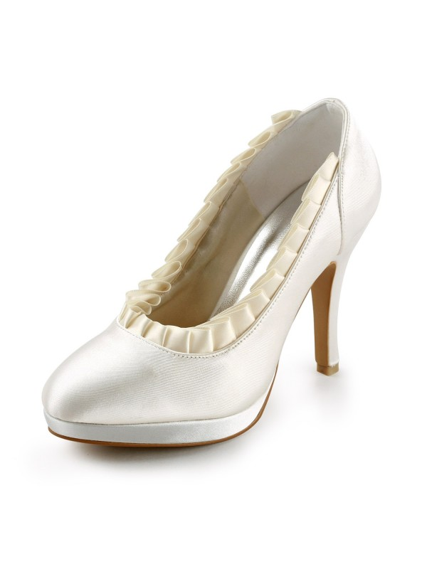 Women's Satin Upper Stiletto Heel Pumps With Ruffles Ivory Wedding Shoes