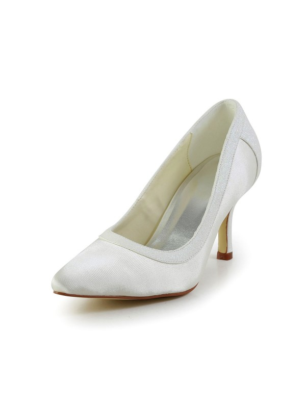 Women's Simple Satin Stiletto Heel Closed Toe White Wedding Shoes