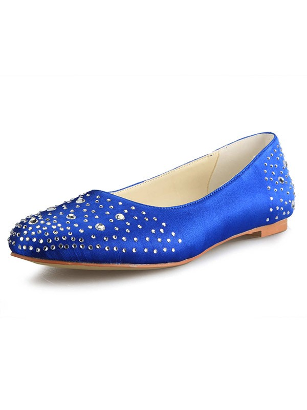 Women's Flat Heel Satin Closed Toe With Rhinestone Flat Shoes