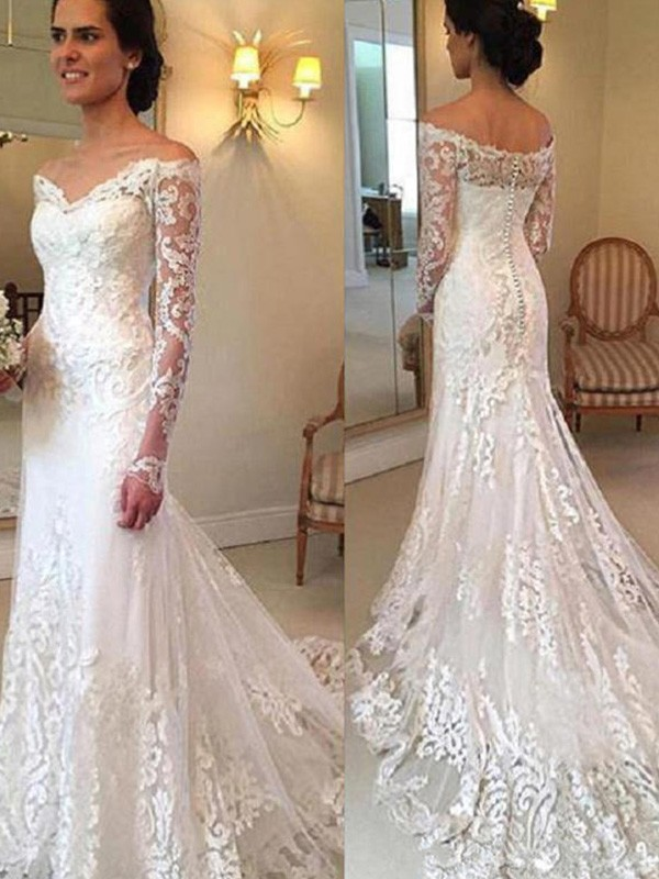 Mermaid Off-the-Shoulder Court Train Long Sleeves Lace Wedding Dress