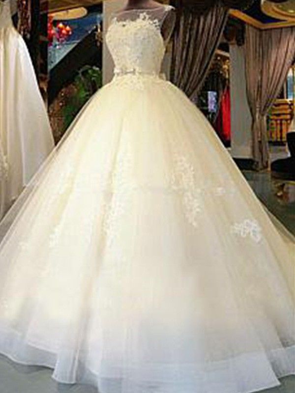 Ball Gown Scoop Cathedral Train Sleeveless Tulle Wedding Dress