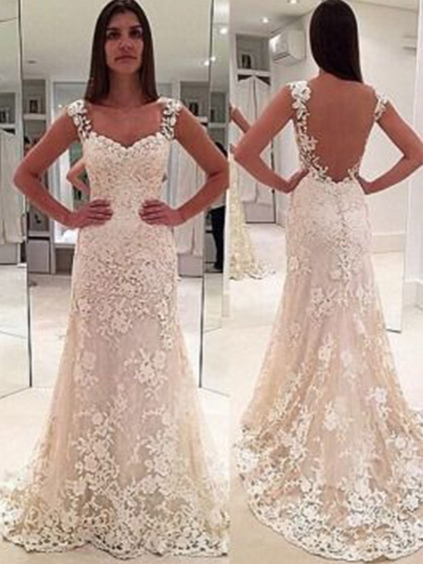 Sheath Straps Sleeveless Court Train Sweetheart Lace Wedding Dress