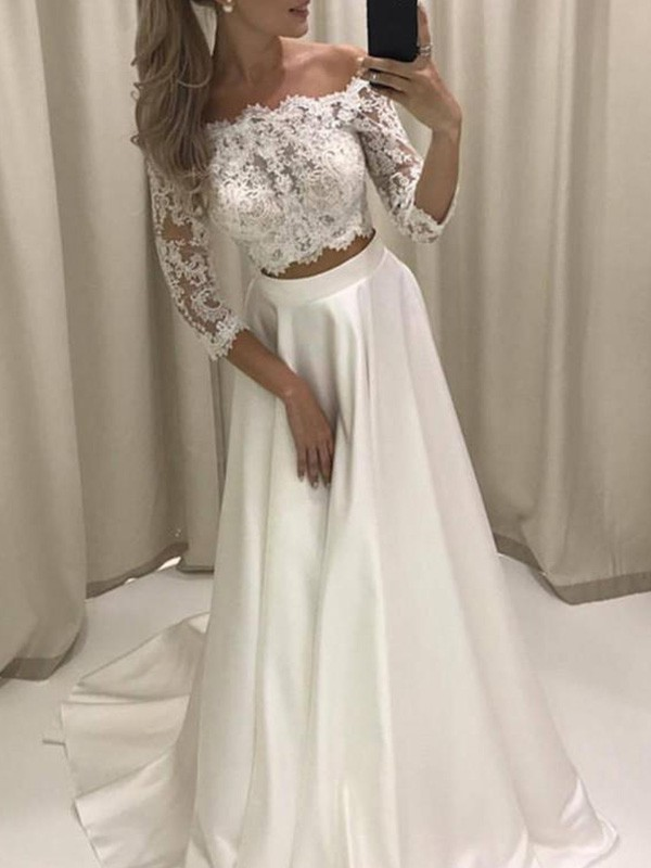 A-Line 3/4 Sleeves Off-the-Shoulder Court Train Satin Wedding Dress