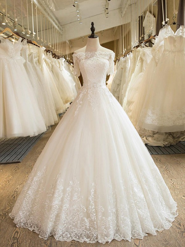 Ball Gown 1/2 Sleeves Off-the-Shoulder Floor-Length Lace Tulle Wedding Dress