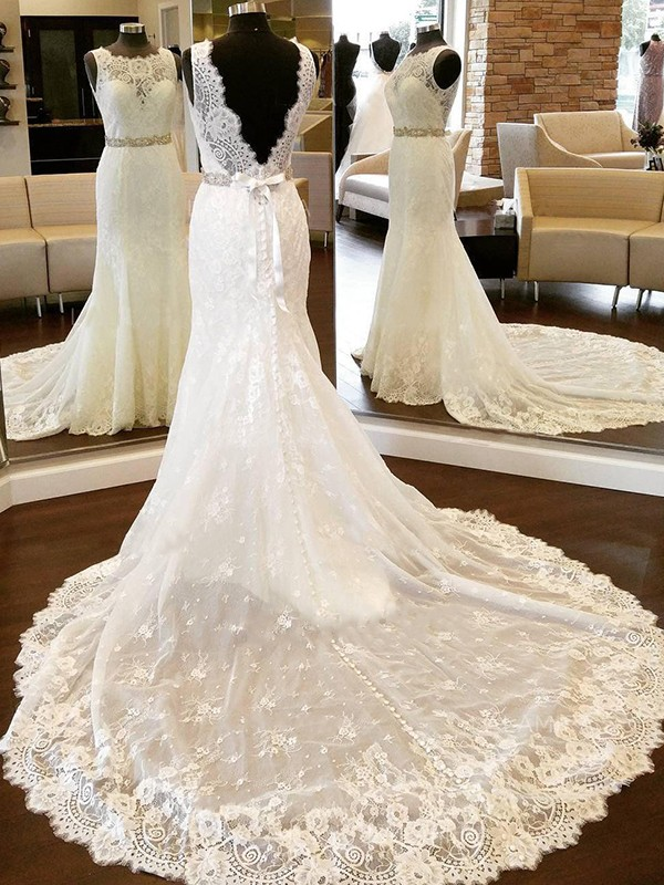 Sheath Lace Scoop Sleeveless Chapel Train Wedding Dress